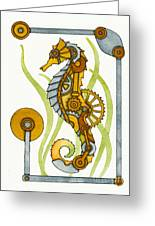 Steampunk Seahorse Greeting Card by Nora Blansett