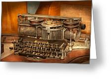Steampunk - The History Of Typing Greeting Card by Mike Savad