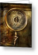 Steampunk - The Pressure Gauge Greeting Card by Mike Savad