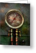 Steampunk - Train - Brake Cylinder Pressure  Greeting Card by Mike Savad