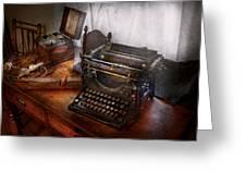 Steampunk - Typewriter - The Secret Messenger  Greeting Card by Mike Savad