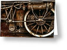 Steampunk- Wheels Of Vintage Steam Train Greeting Card