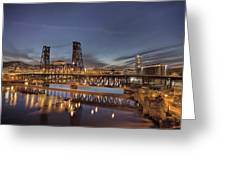 Steel Bridge Over Willamette River At Blue Hour Greeting Card