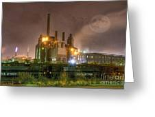 Steel Mill At Night Greeting Card