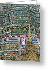 Steep Stairs Lead To Higher Level Of Temple Of The Dawn-wat Arun In Bangkok-thailand Greeting Card