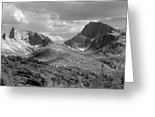 109629-bw-steeple And Temple Peaks, Wind Rivers Greeting Card