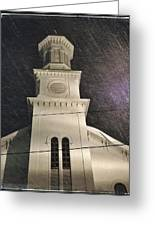 Steeple In A Snowstorm Greeting Card