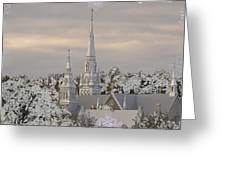Steeples In The Snow Greeting Card