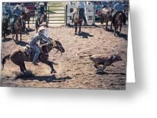 Steer Tripping Greeting Card by Daniel Hagerman