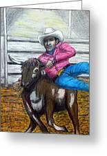 Steer Wrestling Original For Sale Greeting Card