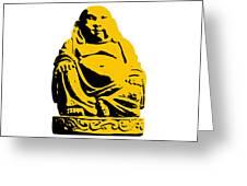 Stencil Buddha Yellow Greeting Card by Pixel Chimp