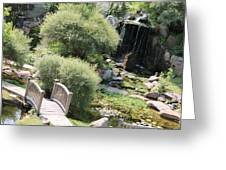 Stepping Stones And Water Fall Greeting Card