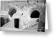 steps from the courtyard up to the entrance of the caves at the Sidi Driss Hotel underground at Matmata Tunisia scene of Star Wars films Greeting Card