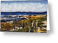 Steps To The Sea Abstract Greeting Card by Barbara Snyder