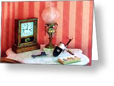 Stereopticon Lamp And Clock Greeting Card