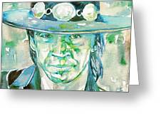Stevie Ray Vaughan- Watercolor Portrait Greeting Card