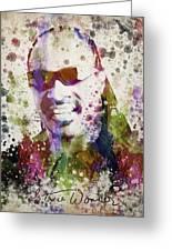 Stevie Wonder Portrait Greeting Card by Aged Pixel