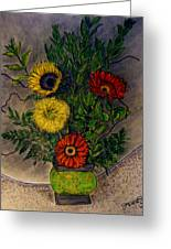 Still Life Ceramic Vase With Two Gerbera Daisy And Two Sunflowers Greeting Card