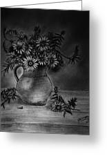 Still Life Clay Pitcher With 13 Daisies Greeting Card