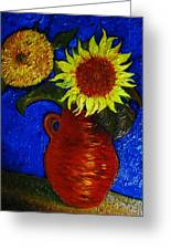 Still Life Clay Vase With Two Sunflowers Greeting Card