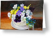 Still Life Freesias And Pansies Greeting Card