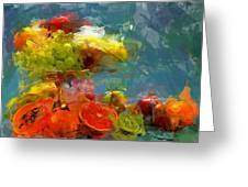 Still Life Fruits In Vase Greeting Card by Yury Malkov