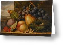 Still Life Grapes Pares Birds Nest Greeting Card by Edward Ladell