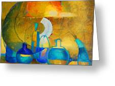 Still Life In Ocher And Blue Greeting Card