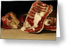Still Life Of Sheep's Ribs And Head Greeting Card by Francisco Jose de Goya y Lucientes