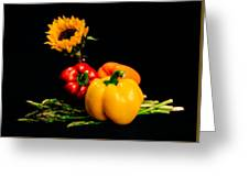 Still Life Peppers Asparagus Sunflower Greeting Card