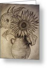 Still Life Two Sunflowers In A Clay Vase Greeting Card