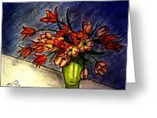 Still Life Vase With 21 Orange Tulips Greeting Card