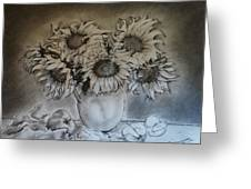 Still Life - Vase With 6 Sunflowers Greeting Card