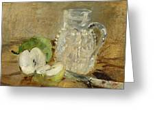 Still Life With A Cut Apple And A Pitcher Greeting Card