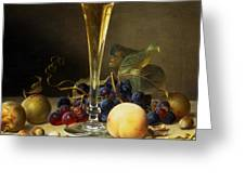 Still Life With A Glass Of Champagne Greeting Card by Johann Wilhelm Preyer