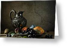 Still Life With A Jug And Fruit Greeting Card by Diana Amelina