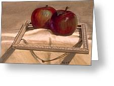 Still Life With Apples In An Old Frame Greeting Card