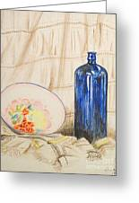Still-life With Blue Bottle Greeting Card