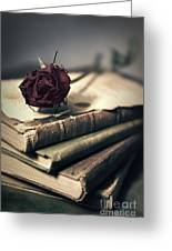 Still Life With Books And Dry Red Rose Greeting Card