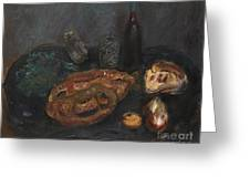 Still Life With Bread And Onions Greeting Card
