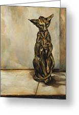 Still Life With Cat Sculpture Greeting Card