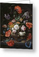 Still Life With Flowers And Watch Greeting Card