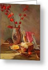 Still-life With Fresh Bread And A Knife Greeting Card