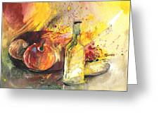 Still Life With Fruits And Flowers And Bottle Greeting Card