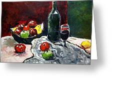 Still Life With Fruits And Wine Greeting Card