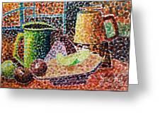 Still Life With Green Jug Painting Greeting Card