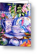 Still Life With  Japanese Plate And Apple Blossom  Greeting Card