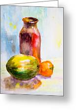 Still Life With Jug And Fruit Greeting Card