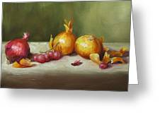Still Life With Onions And Grapes Greeting Card