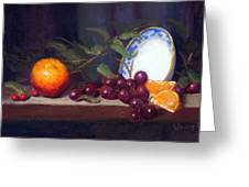 Still Life With Orange And Grapes Greeting Card